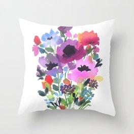 Little Poppy Bouquet Throw Pillow