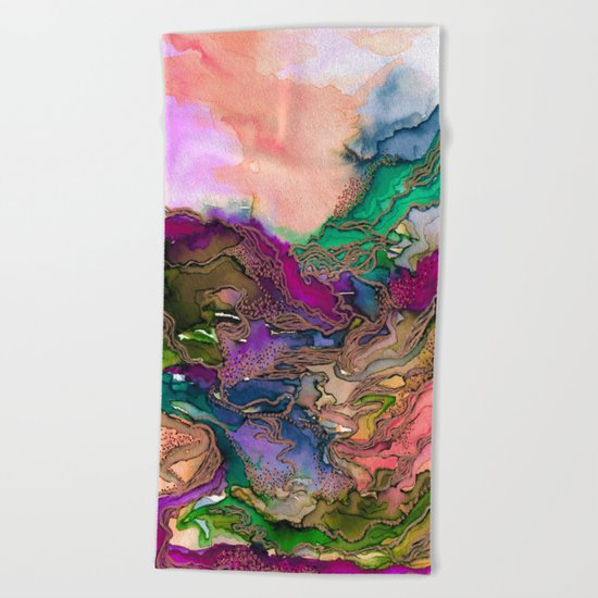 BRING ON BOHEMIA 1 Bold Rainbow Colorful Watercolor Abstract Metallic Accent Summer Peach Pink Green Beach Towel