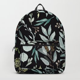 Black Eucalyptus Pattern Backpack
