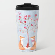 Fox love- foxes animal nature _ Watercolor illustration on #Society6 Metal Travel Mug