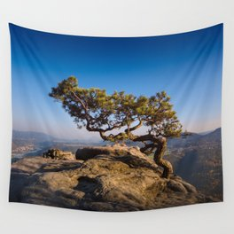 Crooked Tree in Elbe Sandstone Mountains Wall Tapestry