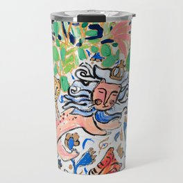 Lion, Cheetah and Tiger Still Life - Wildflowers in Wild Cat Vase After Matisse Travel Mug