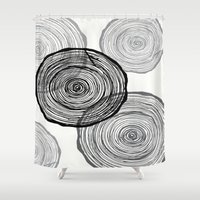 tree rings Shower Curtains featuring rings by Claire Rose Kleese