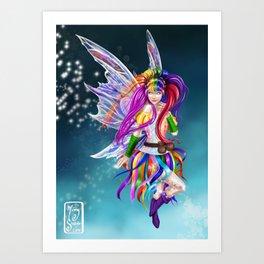 Flitt, the Colorful Rainbow Light Fairy Art Print