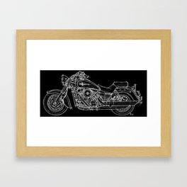 Vulcan 1600 original handmade drawing, gift for bikers Framed Art Print