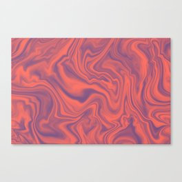 Living Coral - color of year 2019, Ultra Violet Marble Abstract Gradient Pattern Canvas Print