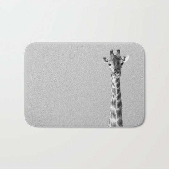 Giraffe Black And White Photography Bath Mat