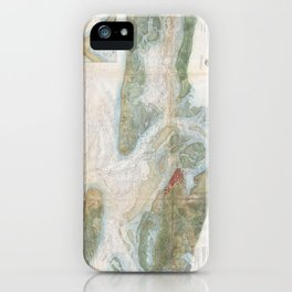 Vintage Map of Beaufort Harbor SC (1857) iPhone Case
