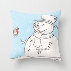 Twigs the Snowman Throw Pillow
