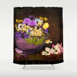 Colorful Flower Basket Shower Curtain