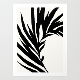 Black and White Curved Palm Frond Ink Drawing Art Print