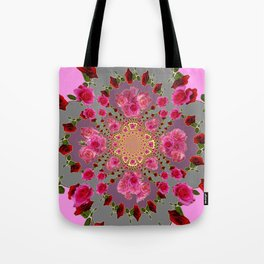 AWESOME PINK-RED ROSES ON  PINK-GREY GARDEN VIGNETTE PATTERN FOR the Tote Bag