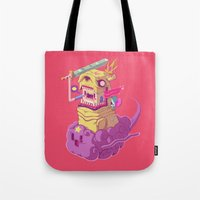 jake Tote Bags featuring Finn and Jake by Mike Wrobel