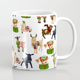 Christmas goats in sweaters repeating seamless pattern Coffee Mug