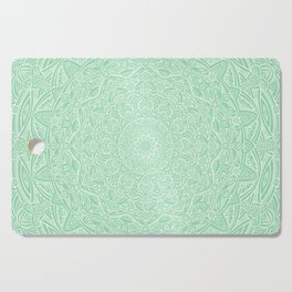 Most Detailed Mandala! Mint Green Color Intricate Detail Ethnic Mandalas Zentangle Maze Pattern Cutting Board