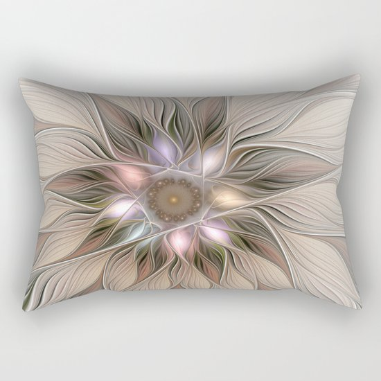 Joyful Flower, Abstract Fractal Art Rectangular Pillow