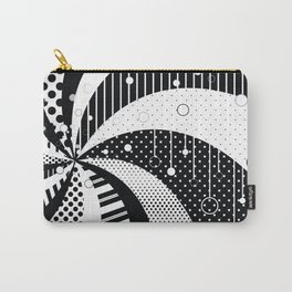 B/W Stripes and Polka Dots Graphic Art Carry-All Pouch