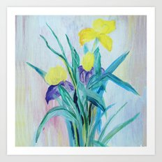 yellow iris on a blue background Art Print