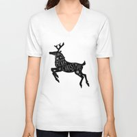 merry christmas V-neck T-shirts featuring Merry Christmas by Wis Marvin