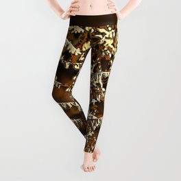 Abstract autumn fern leave Leggings