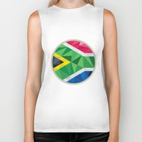 south africa Biker Tanks featuring South Africa Flag Icon Circle Low Polygon by patrimonio
