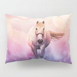Romantic mystery horse illustration with full moon Pillow Sham