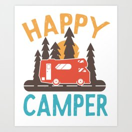 Happy Camper Camping Motorhome Nature Art Print