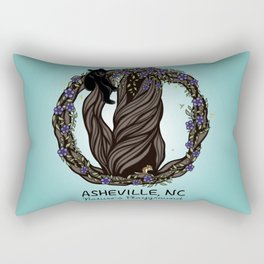 Asheville - Nature's Playground - AVL 5 Colored on Teal Rectangular Pillow
