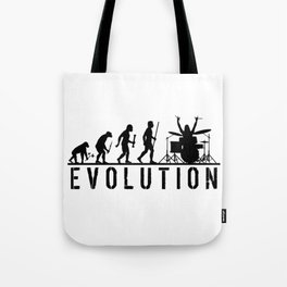 The Evolution Of Man And Drums Tote Bag