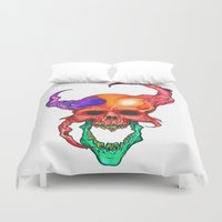 rasta Duvet Covers featuring RASTA DEMON by The Anti-Dan Artwork