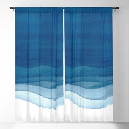 Watercolor blue waves Blackout Curtain