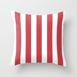 Strawberry red pink - solid color - white vertical lines pattern Throw Pillow