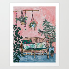 Rattan Bench in Painterly Pink Jungle Room Art Print