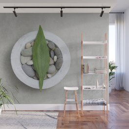 Zen Stone And Leaf Wall Mural