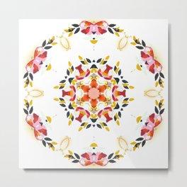 delicate rose floral circle mandala Metal Print