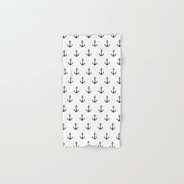 Simple black white modern nautical anchor Hand & Bath Towel