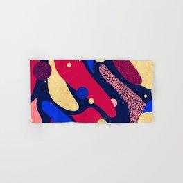 Psychedelic terrazzo galaxy blue night gold red Hand & Bath Towel