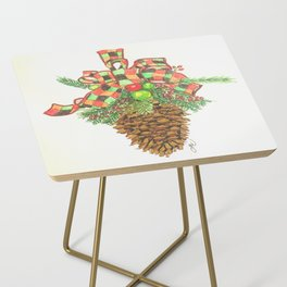 Holiday Pine Cone Side Table