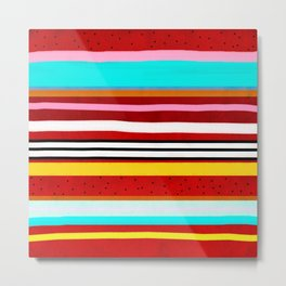Watermelon Red Striped Colors Metal Print
