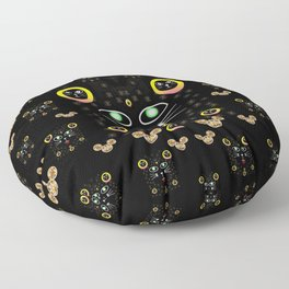 Merry black cat in the night and a mouse involved pop-art Floor Pillow