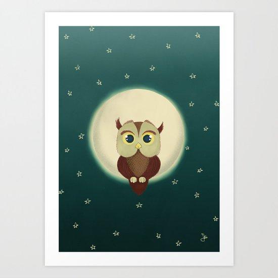 Owl by night Art Print