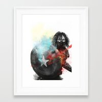the winter soldier Framed Art Prints featuring Winter Soldier by Alba Palacio