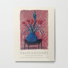 "David Hockney. Vintage poster ""Amaryllis in Vase"" for Thordén Wetterling Galleries, 1984-1986. Metal Print"