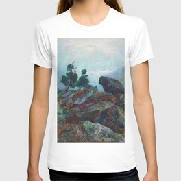 Weather chirping on cyclone rock landscape painting by Emilie Mediz-Pelikan T-shirt