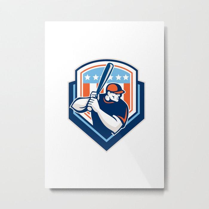 American Baseball Batter Hitter Shield Retro Metal Print