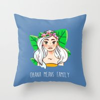 ohana Throw Pillows featuring Ohana by Jessi's Art