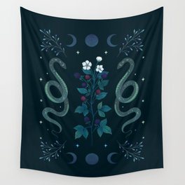Serpent and Wild Berries Wall Tapestry