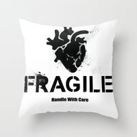 anatomical heart Throw Pillows featuring Fragile Anatomical Heart by J ō v