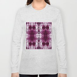 Black Cherry Plaid Shibori Long Sleeve T-shirt