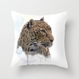 Digital Painting of Leopard Portrait Throw Pillow